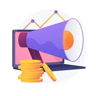 Marketinginvestition. gewinn, umsatz, einkommen. goldener münzenstapel, laptop und megaphon. unternehmensfinanzierung. spar- und gewinnwachstum.