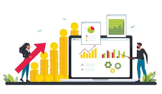 Marketinginvestitionen, bedarfsplanung, digitales prüfungskonzept mit winzigen leuten. geschäftsplan, finanzmanagement, umsatzmetapher. winzige leute mit einem großen haufen münzen und grafiken auf einem computerbildschirm