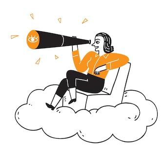 Marketingkonzept für unternehmen, das hübsche mädchen, das mit einem teleskop auf den wolken sitzt, handgezeichnete vektorillustration