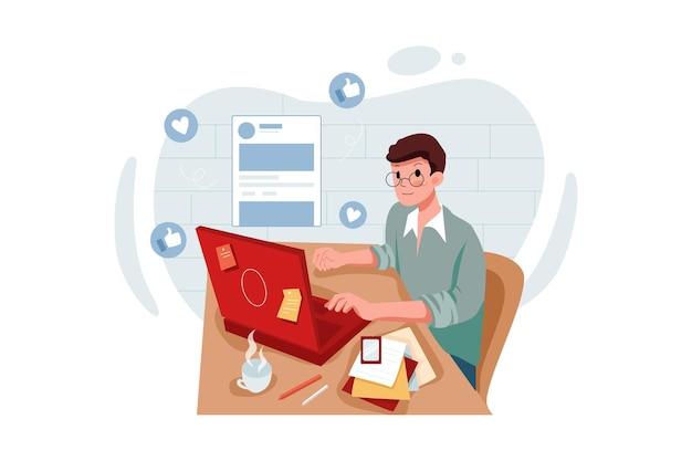 Marketingmitarbeiter, der anzeigen schaltet illustration