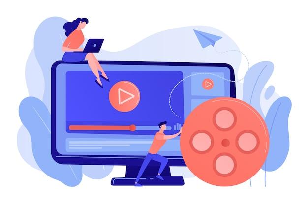 Marketingstratege mit laptop, der mit videoinhalten arbeitet. video-content-marketing, video-marketing-strategie, digitales marketing-tool-konzept