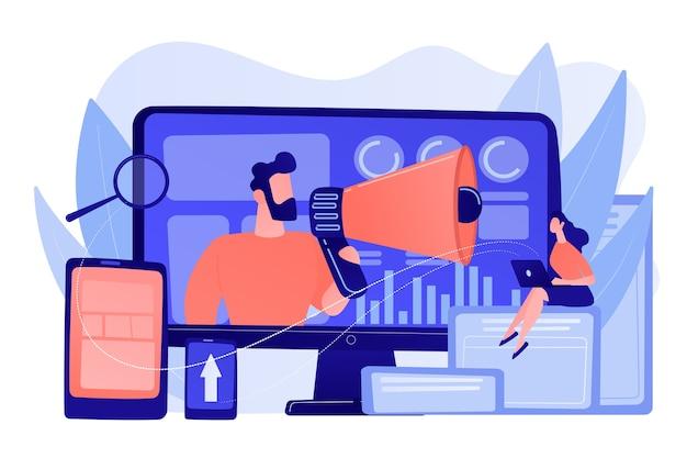 Marketingstrategen und content-spezialist mit megaphon und digitalen geräten. digitales marketing-team, strategie-konzept des marketing-teams. isolierte illustration des rosa korallenblauvektors