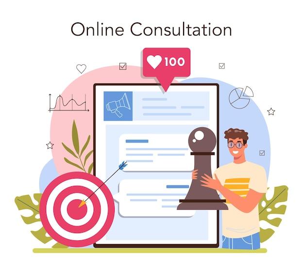 Marketingstrategie und -kommunikation für online-dienste oder plattformen