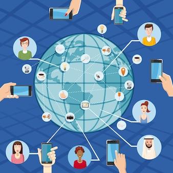 Marketingtechnologiekonzept global. karikaturillustration des vermarktungstechnologie-vektorkonzeptes für netz