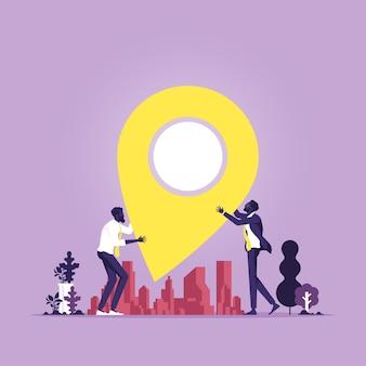Markieren eines neuen standorts abbildung des immobilienmaklers