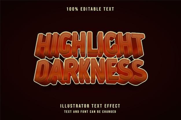 Markieren sie den bearbeitbaren texteffekt der dunkelheit mit gelber abstufung