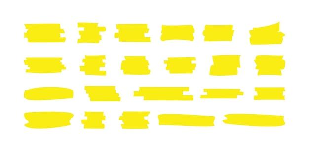 Markieren sie die gelbe linie des markers. markierungsfarbstrich, pinselstifthand unterstrichen gezeichnet