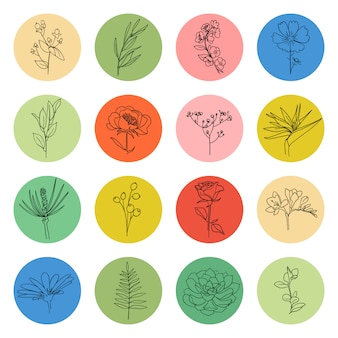 Markieren sie die vektorsammlung. kreisform mit blumenpflanzenelement innen, symbolsatz der sozialen mediengeschichten. verschiedene formen, linienstil, doodle-aufkleber, grafisches logo. handgezeichnete vorlagen.