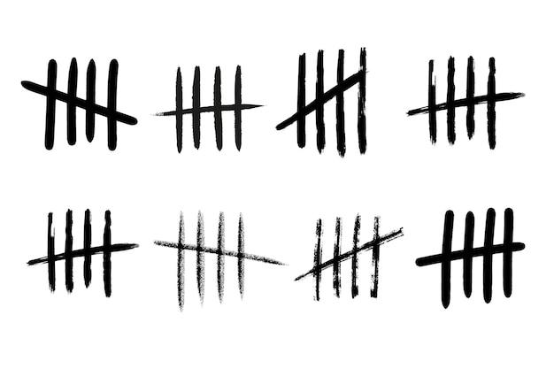 Markieren sie zahlenlinien an der wand. handgezeichnete stöcke zum zählen der zeit im gefängnis. vektor-illustration-design-set.