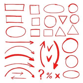 Markierte hand gezeichnete gekritzelelementvektorillustration