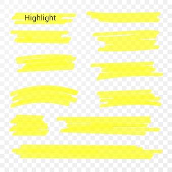 Markierungslinien. textmarker-linien. handzeichnung.