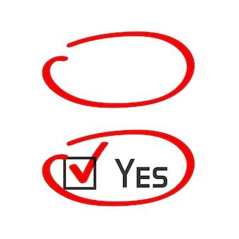 Markierungsmarkierungskreis richtige antwort handgeschriebener strich
