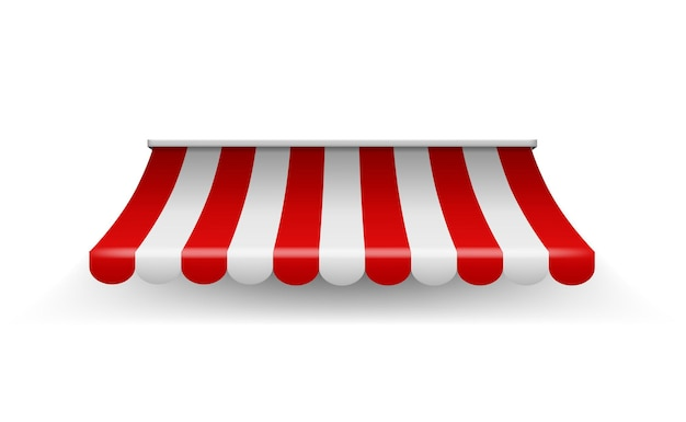 Markise shoppen. einkaufsgestreiftes zelt für marktlebensmittelgeschäft oder restaurant, vektorrealistisches rotes laden-sonnenschutzdach