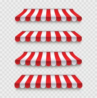 Markisen im freien eingestellt. roter und weißer sonnenschirm