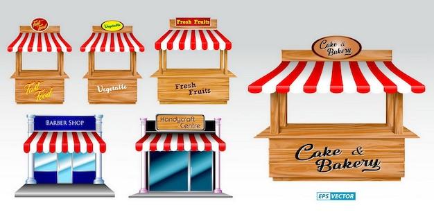 Markisenset mit holzmarktstand und diversem kiosk mit rot-weiß gestreifter markise