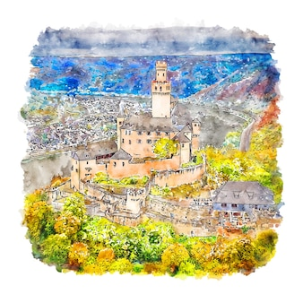 Marksburg castle germany aquarell skizze hand gezeichnete illustration