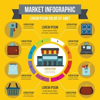 Markt infographik vorlage, flachen stil