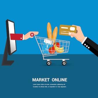 Markt online-cartoon-vektor.