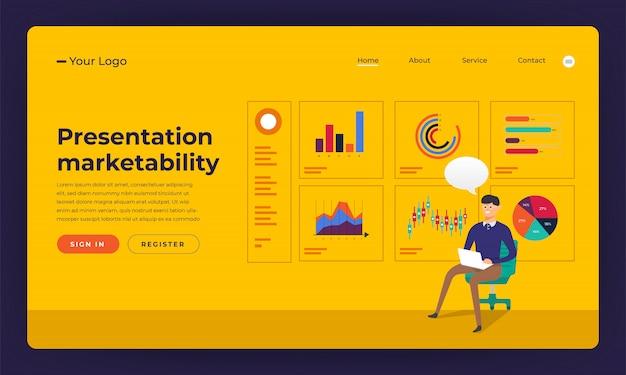 Marktfähigkeit der präsentation von website-konzeptpräsentationen. illustration. Premium Vektoren