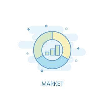 Marktlinienkonzept. einfaches liniensymbol, farbige abbildung. flaches design des marktsymbols. kann für ui/ux verwendet werden