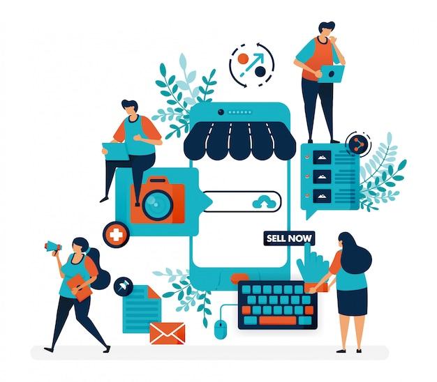 Marktplatzplattform für den verkauf mit smartphone. erstellen sie einen shop oder ein geschäft mit einem mobilen system. online-internetwerbung.