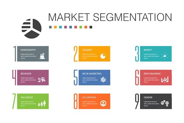 Marktsegmentierung infografik 10 optionszeilenkonzept. demografie, segment, benchmarking, altersgruppe einfache symbole