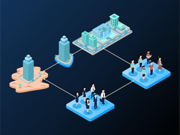 Marktsegmentierungs-workflow oder -schema mit verlaufsstil