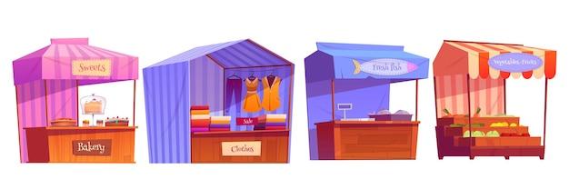 Marktstände, messestände, holzkiosk mit gestreifter markise, kleidung, bäckerei und lebensmittel