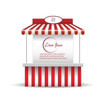 Marktstandstand für verkaufsförderung. einkaufswagen. geschäft, schaufenster und kiosk, marktplatz mobil