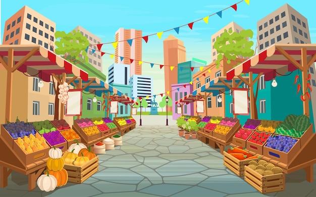 Marktstraße für bio-lebensmittel. lebensmittelmarktstände mit obst und gemüse. vektorkarikatur