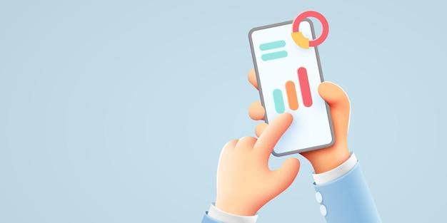 Markttrenddiagramme und geschäftsanalysen auf der smartphone-hand halten telefoninfografiken und statistiken