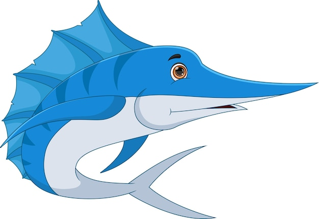 Marlin fisch cartoon auf weißem hintergrund