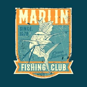 Marlin fishing club vintage konzept