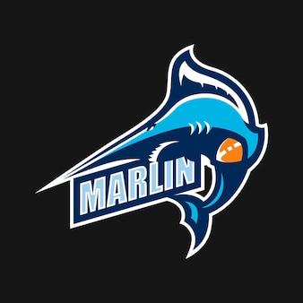 Marlinesport-maskottchen-cartoon-logo-vektor-vorlage