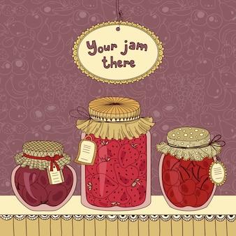 Marmeladenglas mit tags gesetzt