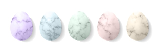 Marmor-ostereier in pastellfarbenschablone.