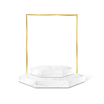 Marmor-polygon-produktplattform mit goldrahmen isoliert