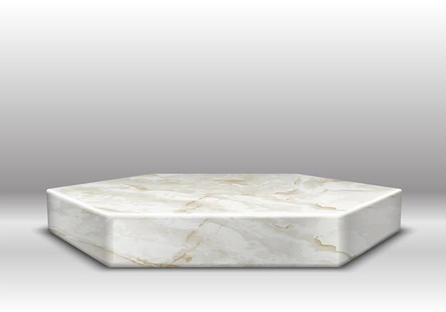 Marmor textur sechseck bühne mit goldener dekoration auf grau