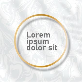 Marmorhintergrundkarten mit goldenen kreisrahmen. trendige vorlagen für banner, flyer, poster, datum speichern, gruß. vektor-illustration