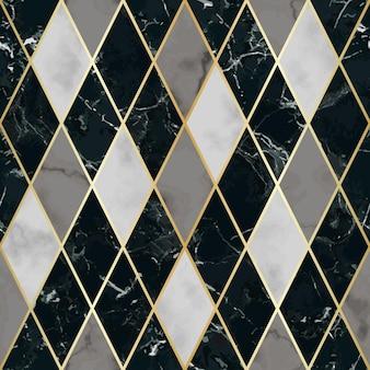 Marmornahtloses muster mit goldenen diagonalen linien rautenmarmorierungsoberfläche moderner hintergrund