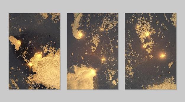 Marmorset aus graublauen und goldenen abstrakten hintergründen mit glitzer in alkoholtintentechnik