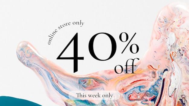 Marmorstrudel-verkaufsschablonenvektor für modeblog-banner