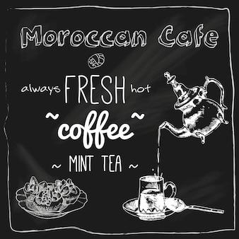 Marokkanische cafétafel der teekanne und der schale