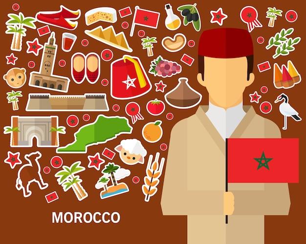 Marokko-konzepthintergrund flache ikonen
