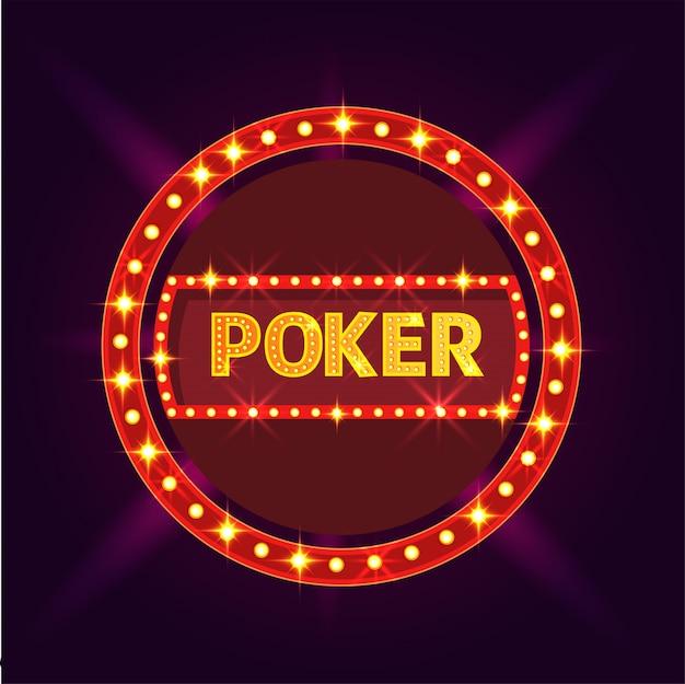 Marquee licht rahmen mit text poker auf lila hintergrund.