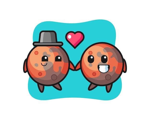 Mars-cartoon-charakterpaar mit verliebtheitsgeste, süßem stildesign für t-shirt, aufkleber, logo-element