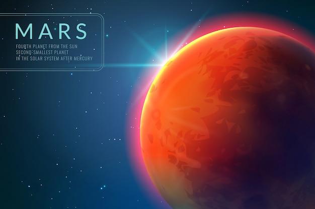 Mars hintergrund. roter planet mit textur im weltraum. aufgehende sonne und marslandschaft 3d konzept