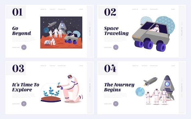 Mars kolonisation und cosmos exploration landing page template set.
