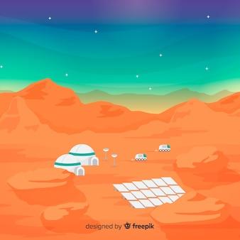 Mars-landschaftshintergrund mit flachem design