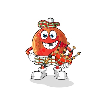 Mars schottisch mit dudelsack. zeichentrickfigur